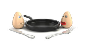 Eggs, pan, fork and knife on white background Stock Image
