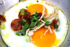 Eggs pans with pork Royalty Free Stock Images