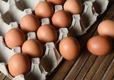 Eggs in a paper container. Eggs in trays made of paper stock photography