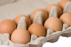 Eggs in paper egg carton Royalty Free Stock Photography