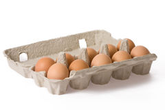 Eggs in paper egg carton Stock Image