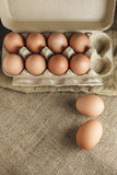 Eggs in Paper pack top view Royalty Free Stock Image
