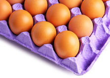 Eggs in paper tray Royalty Free Stock Images