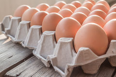 Eggs in paper tray Royalty Free Stock Photography