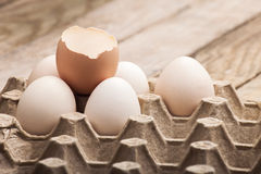 Eggs in a paper tray Royalty Free Stock Photo