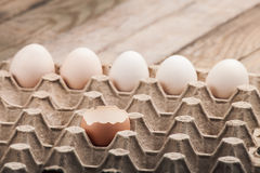 Eggs in a paper tray Royalty Free Stock Images