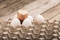 Eggs in a paper tray Stock Photo