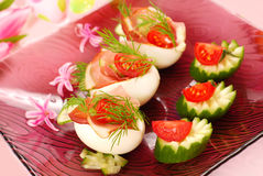 Eggs with parma ham for easter Royalty Free Stock Image
