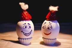 Eggs in a party mood under light stock photo
