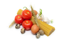 Eggs, pasta and vegetables isolated on white background Royalty Free Stock Photography