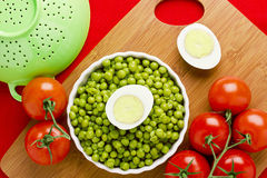Eggs, Peas, and Tomatoes Royalty Free Stock Photos