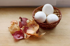Eggs and peel from the onion. Royalty Free Stock Image