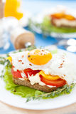 Eggs peppers and tomatoes on a white plate Stock Photography