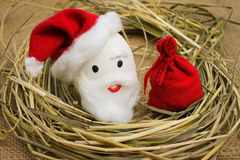 Eggs with persons in the nest for Christmas. Happy eggs with persons in the nest for Christmas Stock Photography