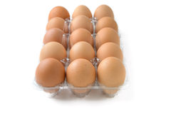 Eggs in plastic box Royalty Free Stock Images