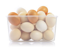 Eggs in plastic box Stock Photo