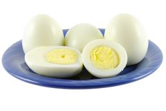 Eggs on a plate Stock Images