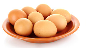 Eggs in plate isolated Stock Photo