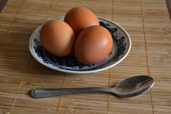 Eggs in a plate and a spoon. Royalty Free Stock Photography