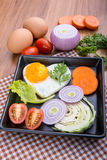 Eggs poached with vegetables Royalty Free Stock Photos