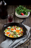 Eggs poached with vegetables,named Stock Photo