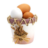 Eggs in pot. Food ingredients Royalty Free Stock Images
