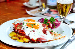 Eggs, potatoes and bacon Royalty Free Stock Images