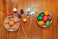 Eggs preparing paint for easter day. Stock Photo