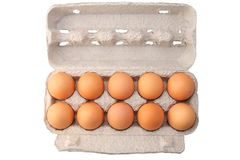 Eggs in protective case Stock Photo