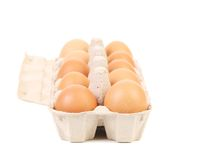 Eggs in protective case foreground Stock Photography