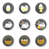 Eggs rabbits willow twigs basket flat modern icon set Stock Images