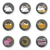 Eggs rabbits willow twigs flat modern icon set Royalty Free Stock Photography