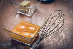 Eggs ready to beat. Cake ingredients, egg beater, eggs, cream and flour. Cake baking concept Royalty Free Stock Photos