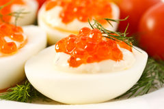 Eggs with red caviar Stock Image