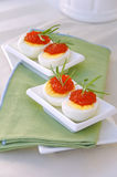 Eggs and red caviar. With rosemary Royalty Free Stock Photos