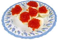 Eggs with red caviar Stock Photo