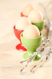 Eggs in red and green eggcups. With catkins Royalty Free Stock Images