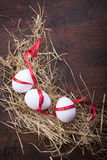 Eggs with a red ribbon on the hay for easter Stock Photos