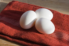 Eggs on Red Tea Towel Stock Photos