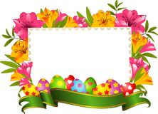 Eggs with ribbon and flowers. Royalty Free Stock Photography