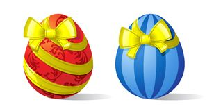 Eggs-and-ribbons Stock Images