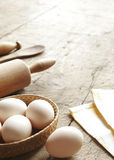 Eggs, Rolling-pin, Wooden Spoon Royalty Free Stock Photography