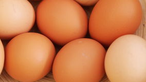 Eggs at rotating stand stock video