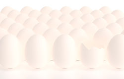 Eggs in a row one egg crack opened Royalty Free Stock Image