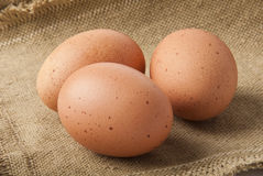 Eggs on sacking Royalty Free Stock Image