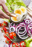 Eggs and salad Stock Images