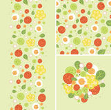 Eggs and salad set of seamless pattern and Royalty Free Stock Images