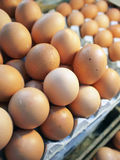 Eggs for sale. Eggs in tray in a food stall for sale Royalty Free Stock Photos