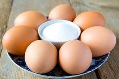 Eggs and salt Stock Image