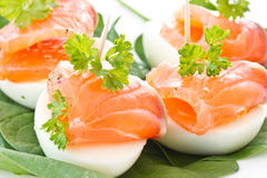 Eggs and salted trout Stock Photos